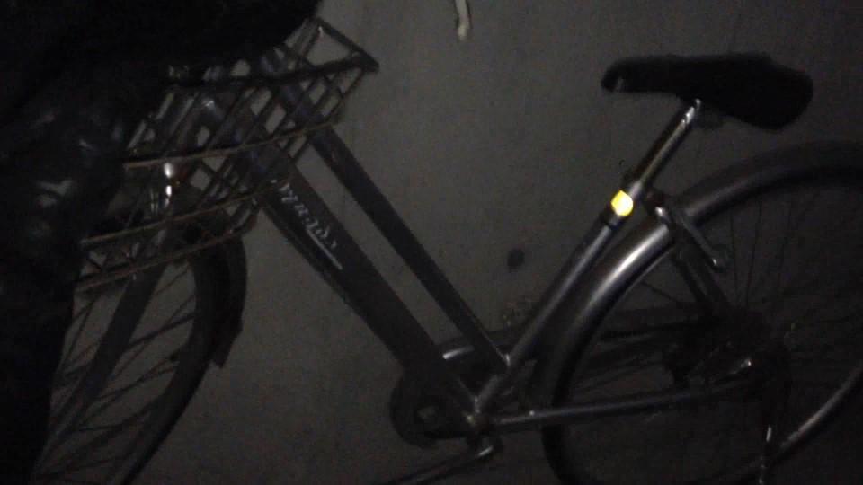 ガレージ内に止めてある自転車