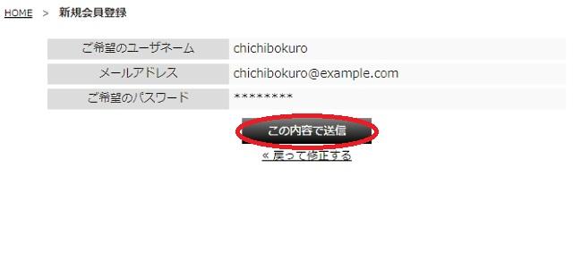 DIGITENTSのユーザネーム・メールアドレス・ご希望のパスワードの確認